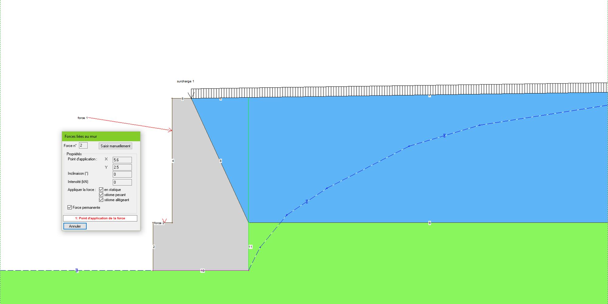 Rabattement de la nappe à l'arrière d'un mur poids
